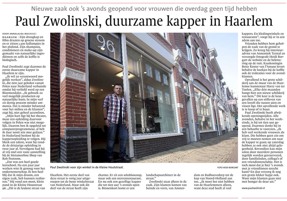Paul Zwolinski, kapper in Haarlem